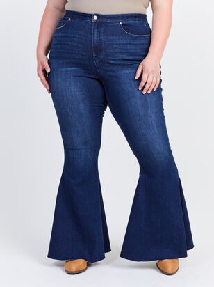 Incrediflex Lace Up Raw Hem Flare Jeans - Altar'd State