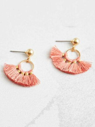 Tiny Tassel Earrings - Taupe - Altar'd State