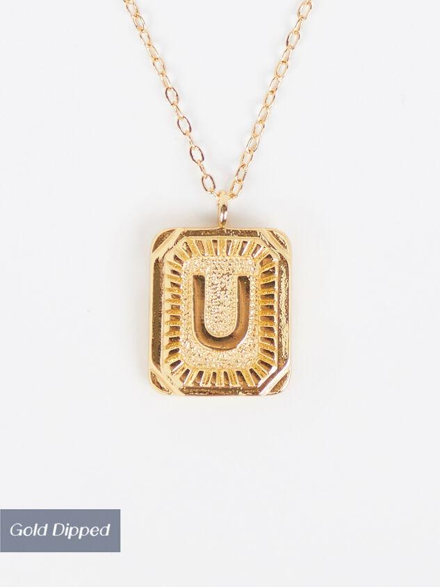 Burst Tag Monogram Necklace - U Detail 1 - Altar'd State