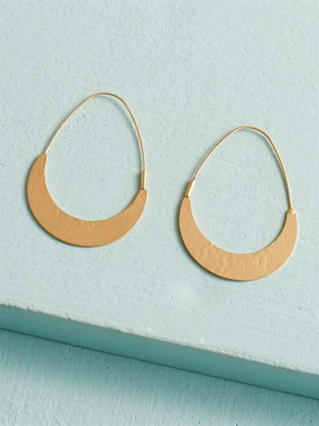 Oblong Hammered Earrings - Altar'd State