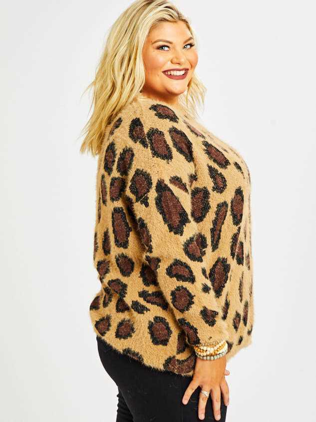Leopard Pullover Sweater Detail 3 - Altar'd State