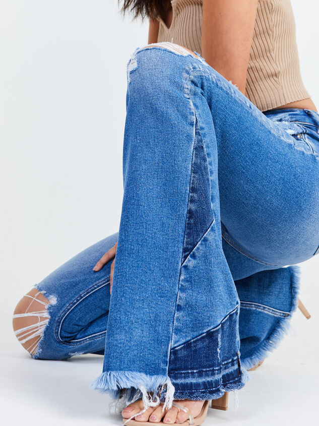 Distressed Piece Flare Jeans Detail 5 - Altar'd State