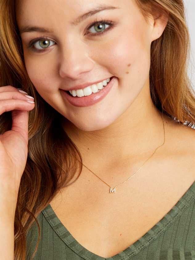 Rhinestone Initial Necklace – M Detail 2 - Altar'd State