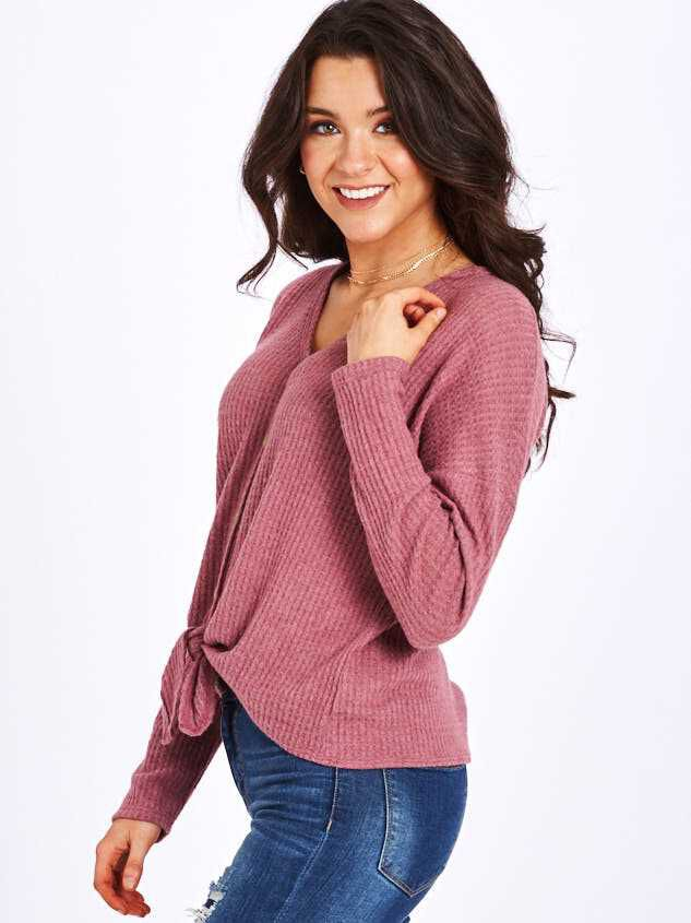 Dreamin' in Thermal Brushed Tie Front Top Detail 2 - Altar'd State
