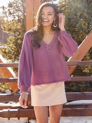 Dreamin' in Thermal Brushed Balloon Sleeve Top - Altar'd State
