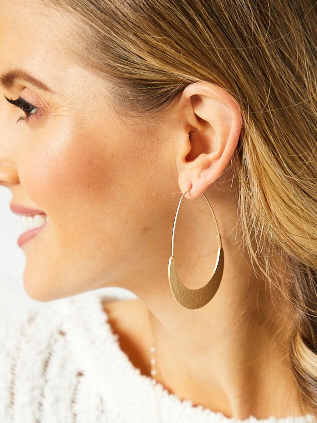 Oblong Hammered Earrings Detail 2 - Altar'd State