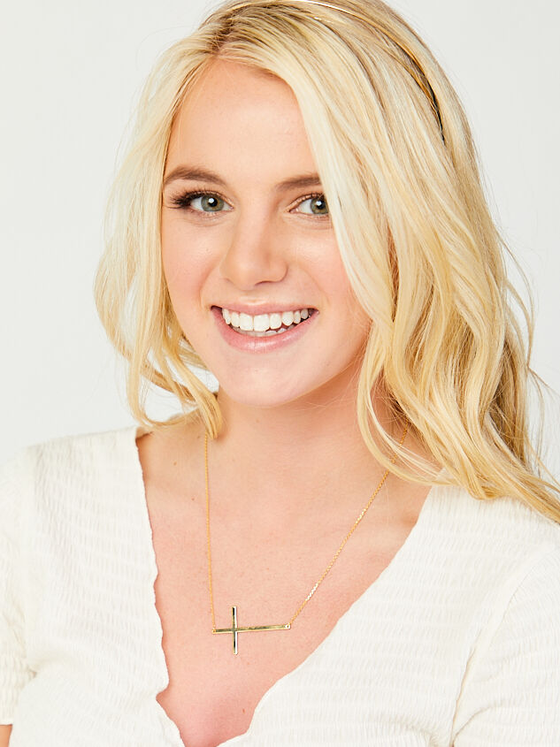 14k Gold Dipped Statement Cross Necklace Detail 2 - Altar'd State