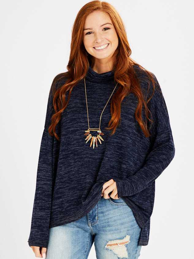 Barlow Top - Heather Navy - Altar'd State
