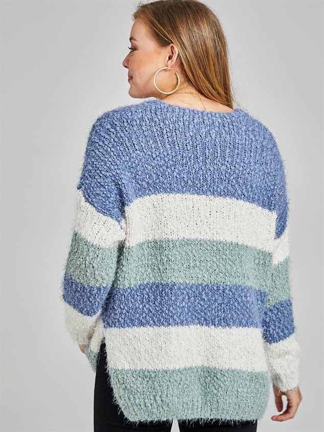 Tricolor Striped Eyelash Sweater Detail 3 - Altar'd State