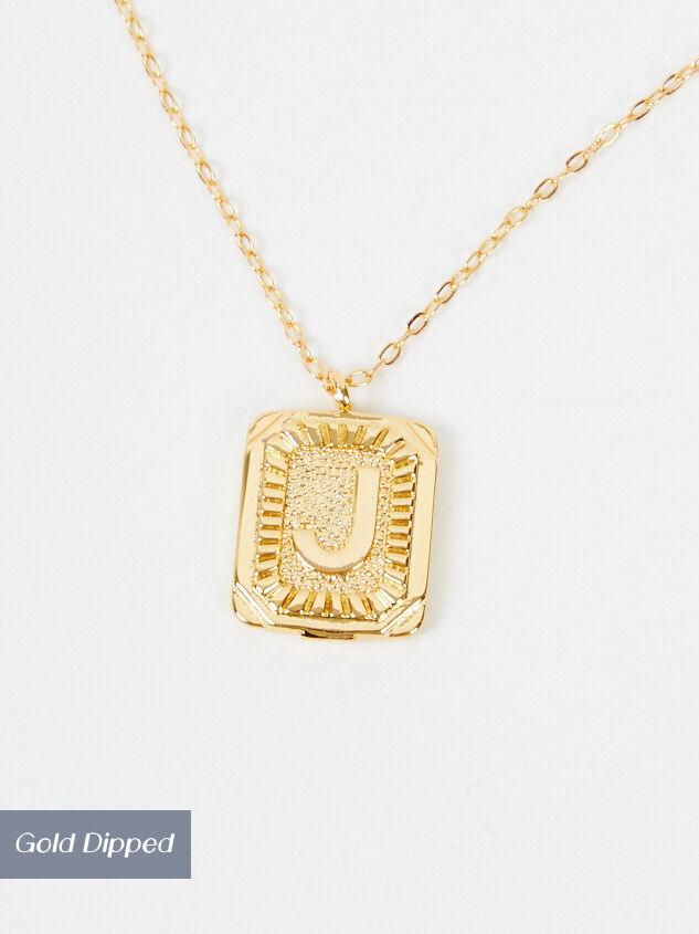 Burst Tag Monogram Necklace - J - Altar'd State