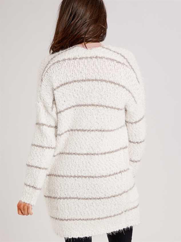 Pinstripe Eyelash Cardigan Sweater Detail 3 - Altar'd State