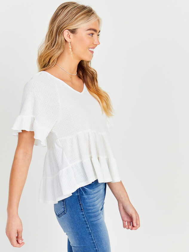 V-neck Ruffle Tiered Top Detail 4 - Altar'd State