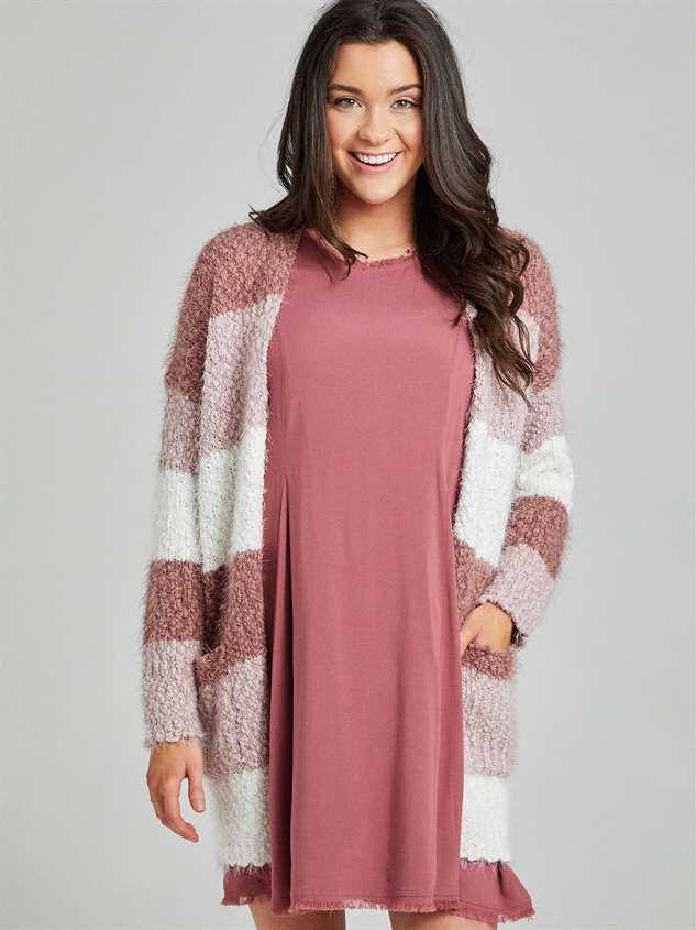 Eyelash Color Block Cardigan Sweater Detail 2 - Altar'd State