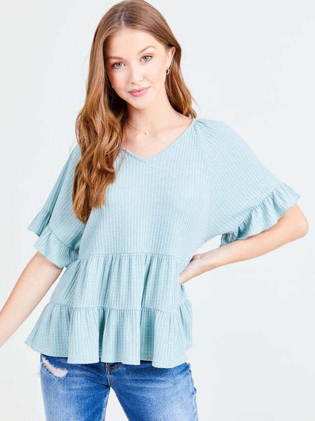 V-neck Ruffle Tiered Top Detail 1 - Altar'd State