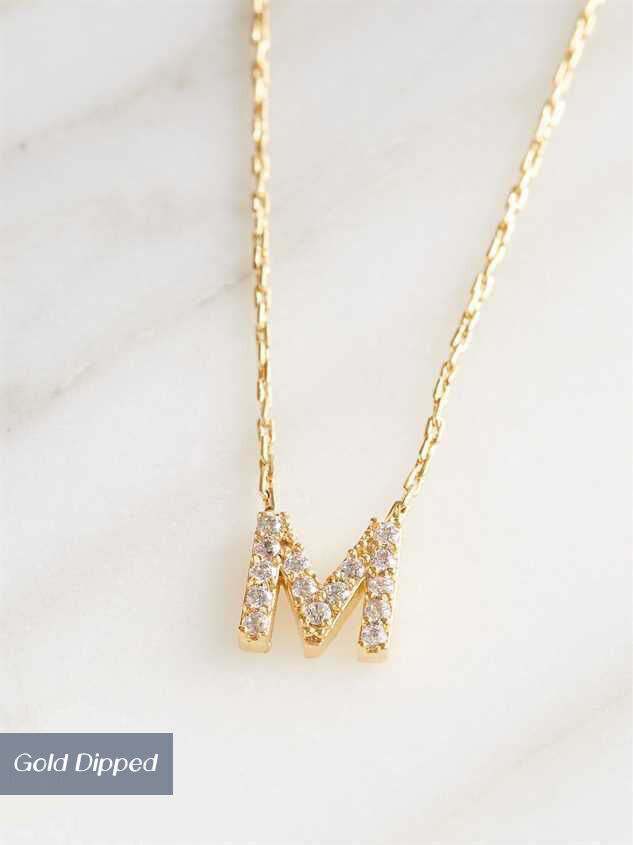 Rhinestone Initial Necklace – M - Altar'd State