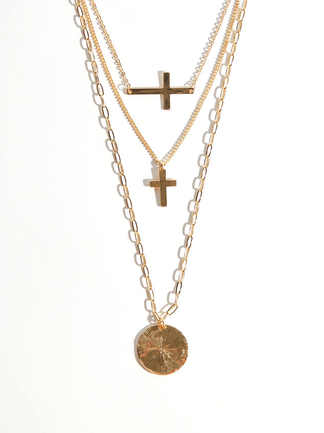 Layered Cross Necklace Detail 2 - Altar'd State