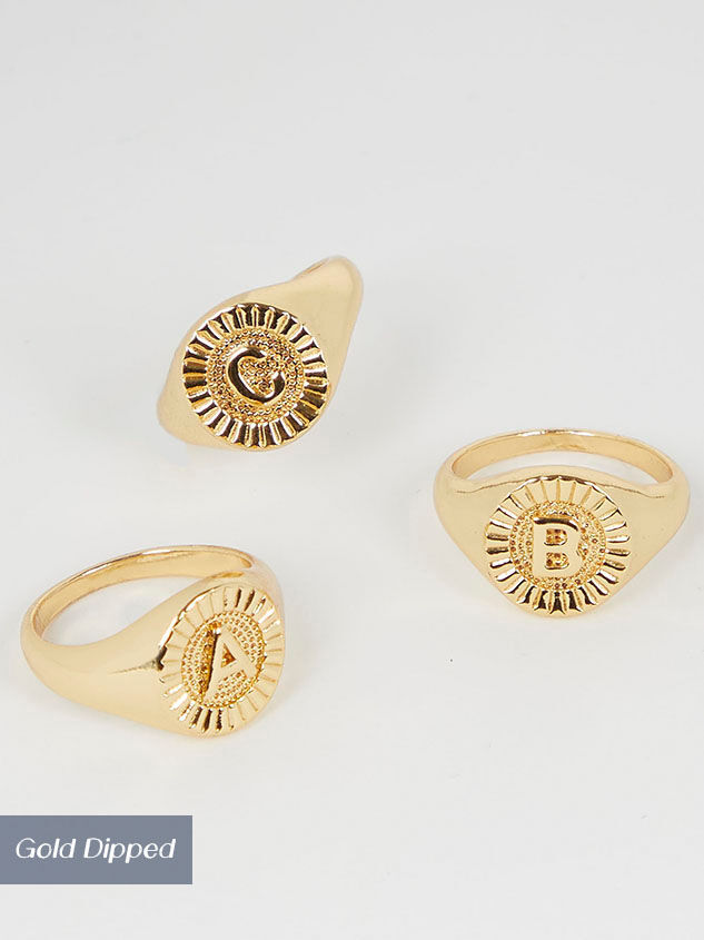 Gold Dipped Signet Monogram Initial Ring Collection - Altar'd State