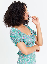 Dainty Floral Top - Teal Detail 3 - Altar'd State