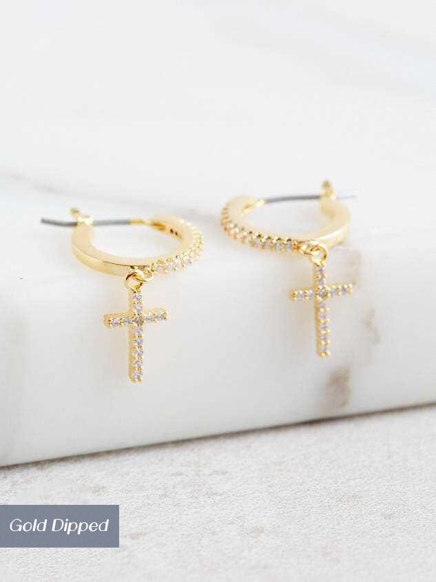 Cross Mini Hoop Earrings Detail 2 - Altar'd State