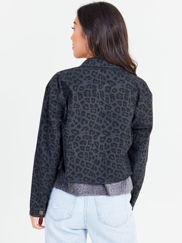 Smokey Cheetah Denim Jacket Detail 3 - Altar'd State
