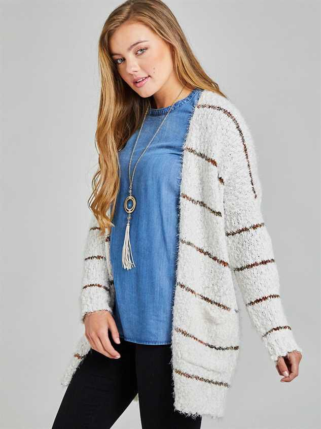 Lovely Lash Spice Striped Cardigan Sweater Detail 3 - Altar'd State