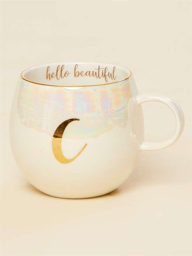Hello Beautiful Iridescent Monogram Mug - C - Altar'd State