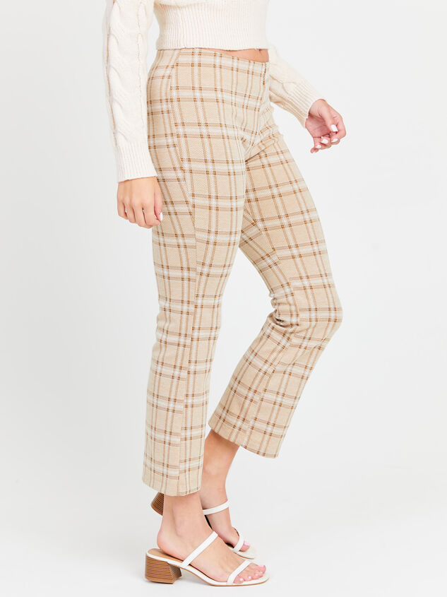 Cropped Plaid Kick Flare Pants Detail 2 - Altar'd State