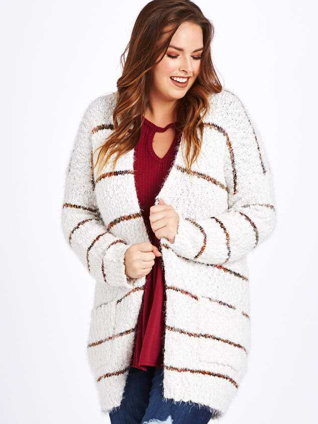 Lovely Lash Spice Striped Cardigan Sweater