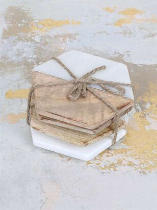 Two by Two Wood & Marble Coaster Set - Altar'd State