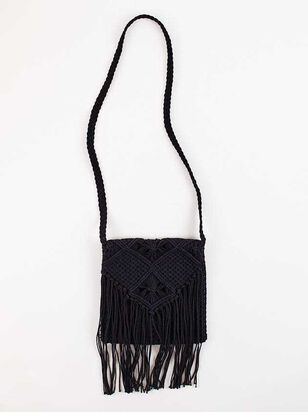 Falling For Fringe Macrame Purse - Black - Altar'd State