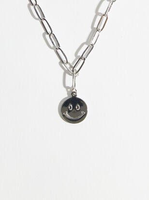 Smiley Face Paperclip Chain Necklace - Altar'd State