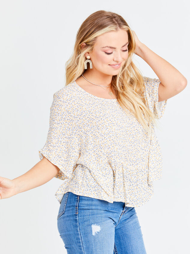 Ditsy Floral Roll Sleeve Top Detail 4 - Altar'd State