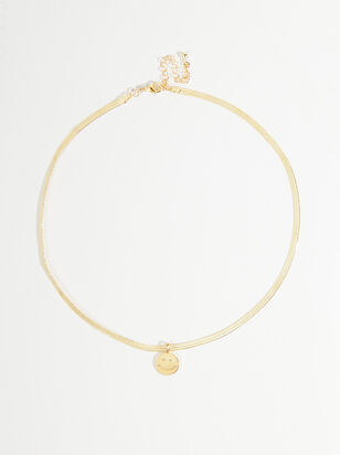 Herringbone Smiley Face Necklace - Altar'd State