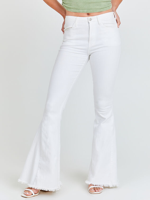 Tennley White Flare Jeans Detail 2 - Altar'd State