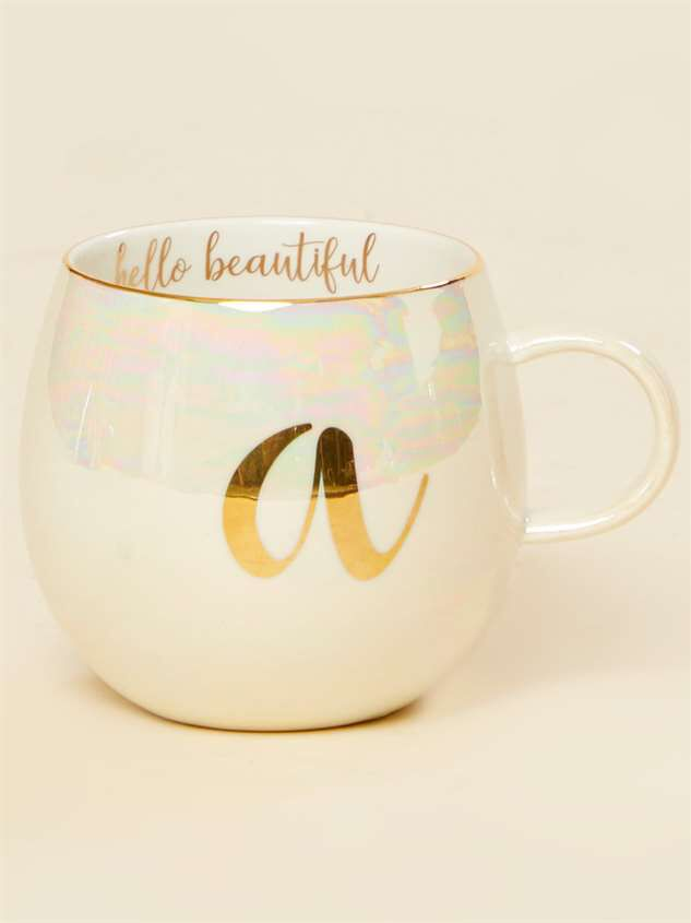 Hello Beautiful Iridescent Monogram Mug - A - Altar'd State