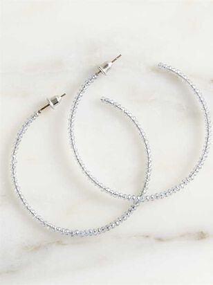 Dainty Sparkle Hoop Earrings - Grey - Altar'd State