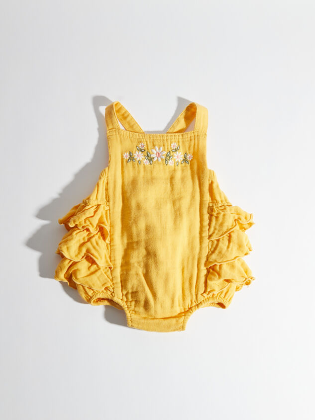 Tullabee Honey Embroidered Ruffled Sunsuit Detail 2 - Altar'd State