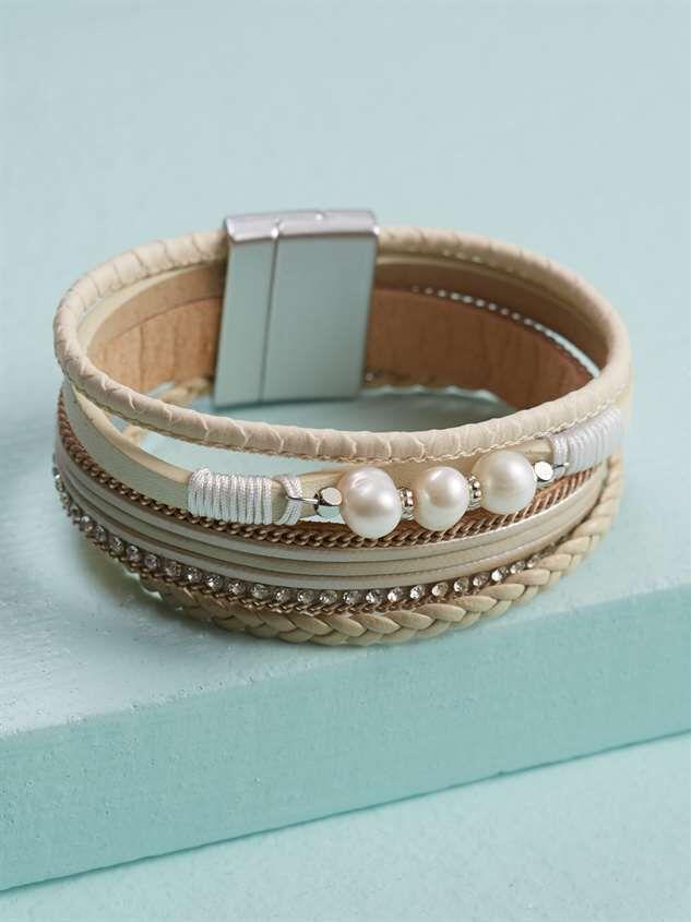 Pearls 'n Leather Bracelet - Altar'd State