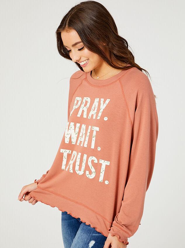 Wait. Pray. Trust. Sweatshirt Detail 2 - Altar'd State