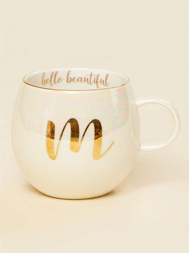 Hello Beautiful Iridescent Monogram Mug - M - Altar'd State