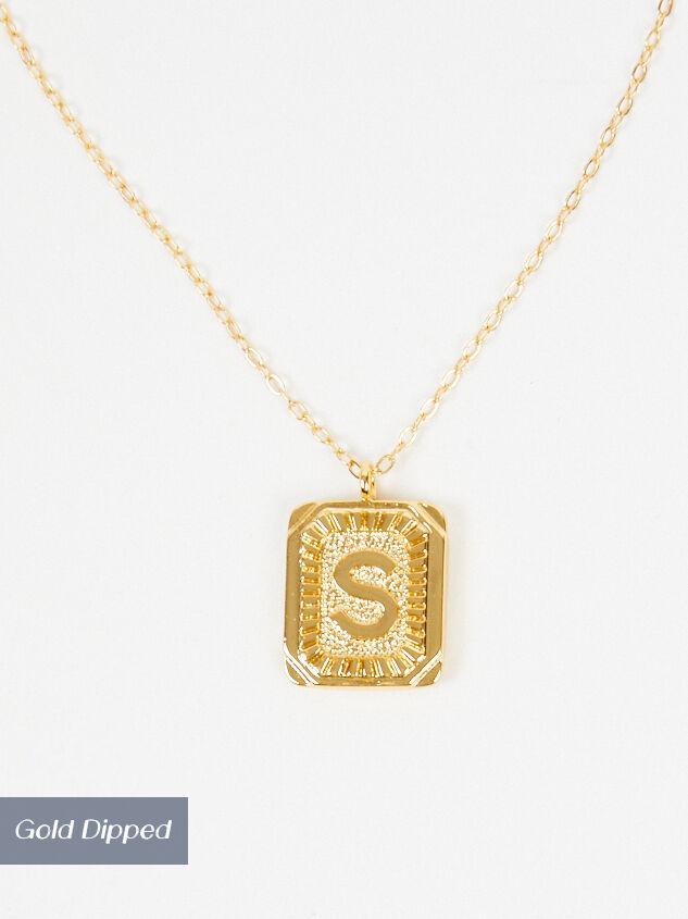 Burst Tag Monogram Necklace - S Detail 2 - Altar'd State
