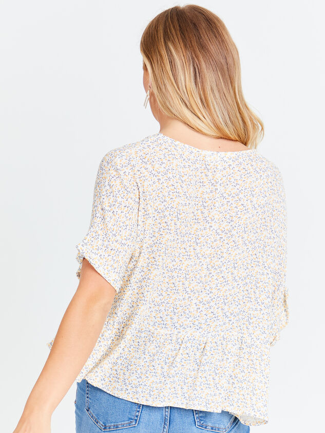 Ditsy Floral Roll Sleeve Top Detail 2 - Altar'd State