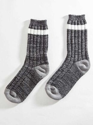 Striped Crew Sock - Charcoal - Altar'd State