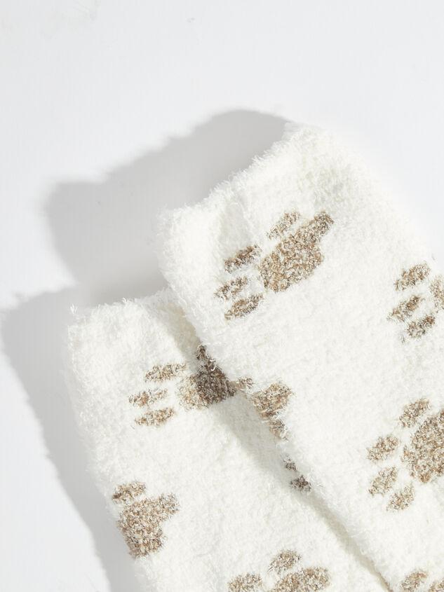 Paw Print Cozy Socks - White Detail 2 - Altar'd State