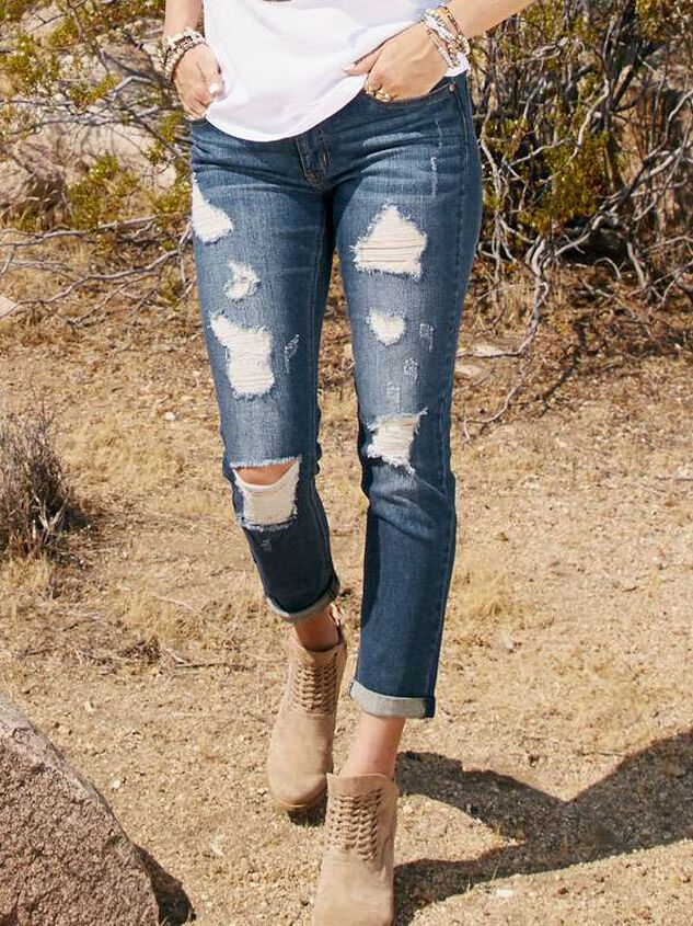 Destructed Girlfriend Jeans - Altar'd State