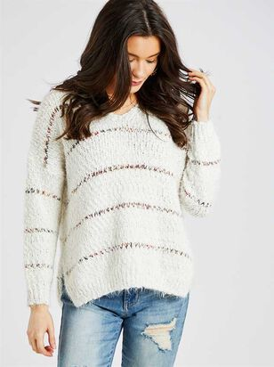 Spiced Striped Eyelash Pullover Sweater - Altar'd State