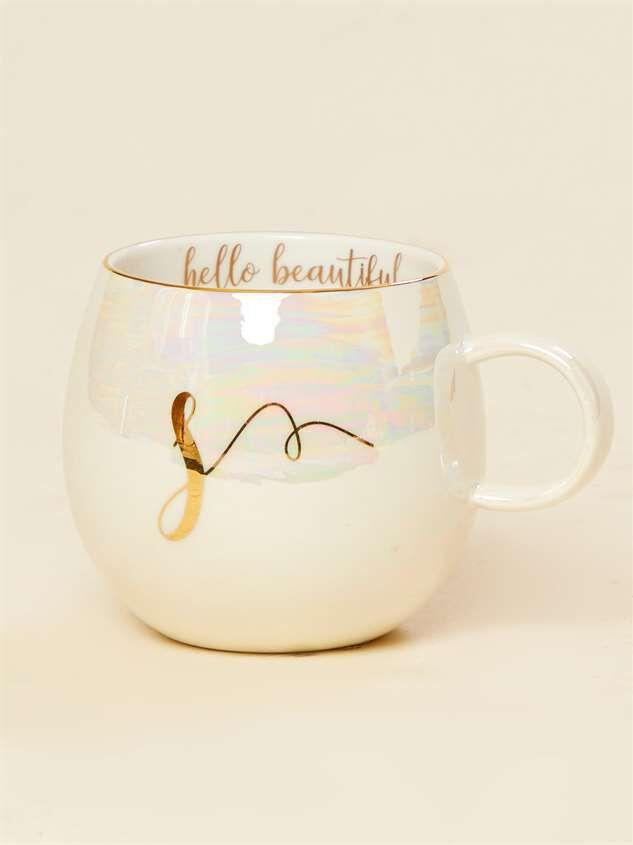 Hello Beautiful Iridescent Monogram Mug - S - Altar'd State