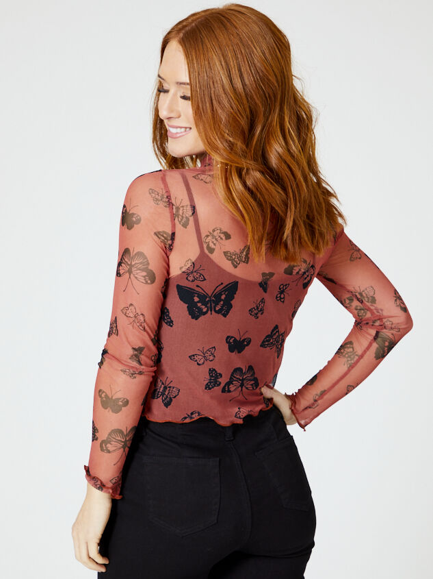 Mesh Butterfly Mock Neck Top Detail 3 - Altar'd State