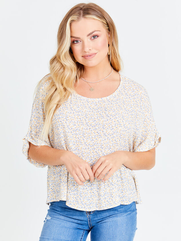 Ditsy Floral Roll Sleeve Top Detail 3 - Altar'd State