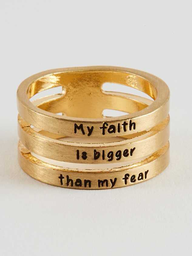 Faith Bigger than Fear Ring - Altar'd State